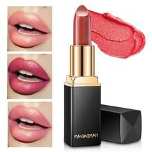 HANDAIYAN Glitter Lipstick Shimmer Temperature Change Shiny Lips Batom Wine Gold Pink Lip Cosmetics