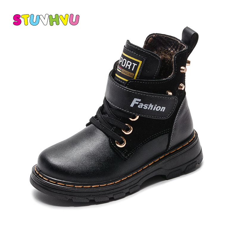 Children boots winter boys shoes 2018 new fashion martin boots kids warm thicken plush snow boots genuine leather cotton shoes