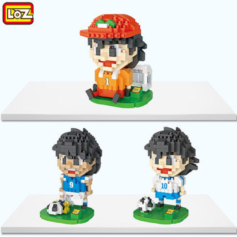 New Arrivals 3pcs/lot LOZ Japanese Anime Captain Tsubasa 3D Building Blocks DIY Assembled Toys Children Educational Gifts pokemon go new pokeball toy 2016 5styles new puzzle 3d miniature building blocks assembled anime abs super master pokemon ball