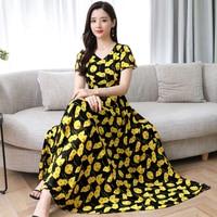 0fe430e5b4e6 Female Flowers Summer Dress 2019 New Women Short Sleeve Floral Print Long  Chiffon Dresses Red Yellow. US $29.99 US $20.99. Feminino Vestido de Flores  Verão ...