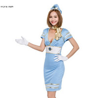 Sexy Woman Flight attendant air hostess uniform Cosplay Adult Halloween Sailor Navy Costume Purim Carnival Role play party dress