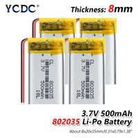 1/2/4 Pcs 802035 3,7 v 500 mah lithium-polymer-batterie 3 7 V volt li po ionen lipo akkus für dvd GPS navigation