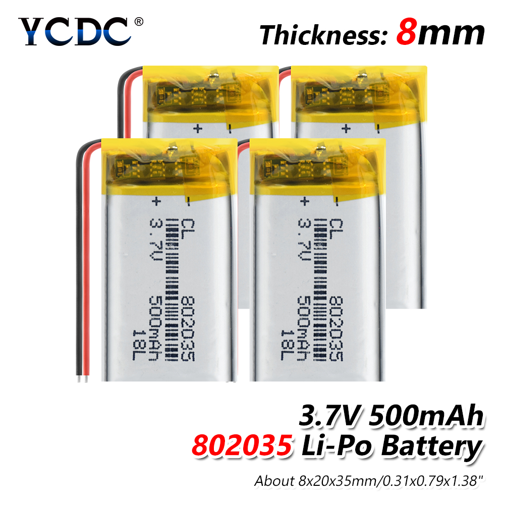 1/2/4Pcs 802035 3.7v 500mah Lithium Polymer Battery 3 7V Volt Li Po Ion Lipo Rechargeable Batteries For Dvd GPS Navigation