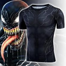 Hot New Movie Spider-Man Venom Eddie Brock Armor Cosplay Costumes Quick Dry Tights T Shirt Short Sleeve Fashion Man