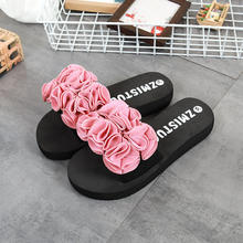Summer Bowknot Non-slip Women Slipper 2019 New Flannelette Flower Lady Flip-flops Fashion Woman Beach Shoes(China)