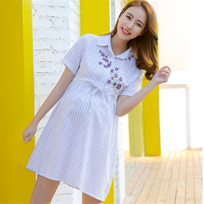 c3931b701999b Best Selling Fashion Maternity Dresses Women Stripe Shirt Dress Maternity  Photography Props Maternity Dress Blue White-in Dresses from Mother & Kids  on ...