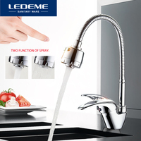 LEDEME Kitchen Faucet Universal Tube 3 Kinds Of Water Way Outlet Pipe Tap Basin Plumbing Hardware