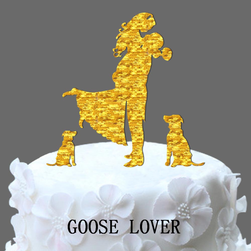 Wedding Cake Topper Bride And Groom Silhouette With Two Dogs, Pets ...