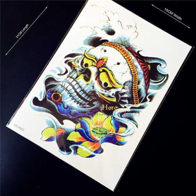 1PC Best Quality Death Skull Head Temporary Tattoo Stickers A23 ...