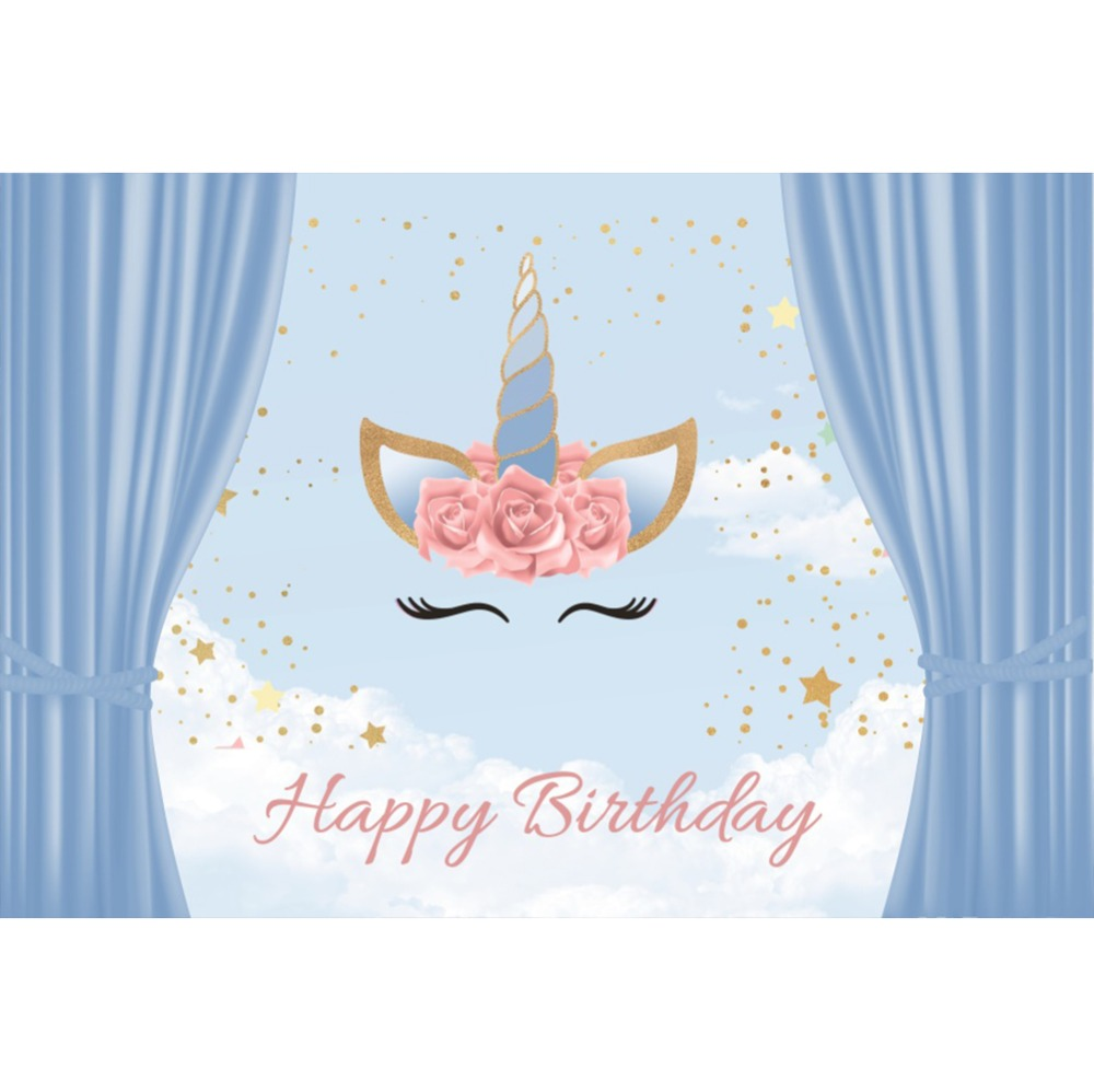 Laeacco Blue Curtain Unicorn Baby Party Birthday Flowers Portrait Posters Photo Backdrops Photographic Backgrounds Photo Studio in Background from Consumer Electronics