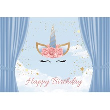 Laeacco Blue Curtain Unicorn Baby Party Birthday Flowers Portrait Posters Photo Backdrops Photographic Backgrounds Studio