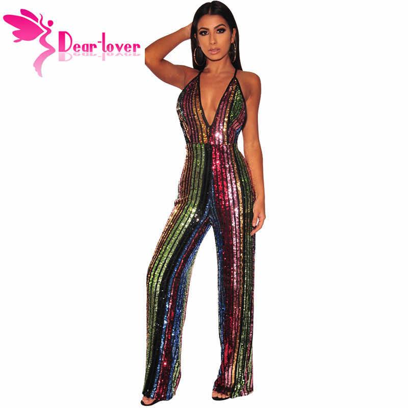 aa4b84ccfb Dear Lover New 2019 Sexy Sequin Wide Leg Jumpsuit in Rainbow Stripe Women s  Deep V Neck