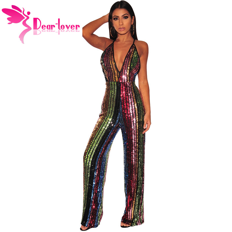 Dear Lover New 2019 Sexy Sequin Wide Leg   Jumpsuit   in Rainbow Stripe Women's Deep V Neck Backless Party Overalls Rompers LC64475