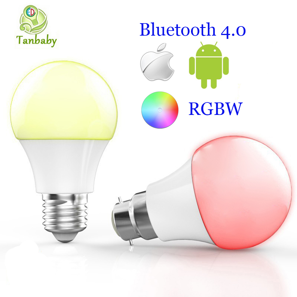 Tanbaby E27 B22 Smart Bluetooth 4.0 Led bulbs 4.5W RGBW Dimmable intelligent lighting spot lamp tanbaby 4 5w e27 rgbw led light bulb bluetooth 4 0 smart lighting lamp color change dimmable for home hotel ac85 265v