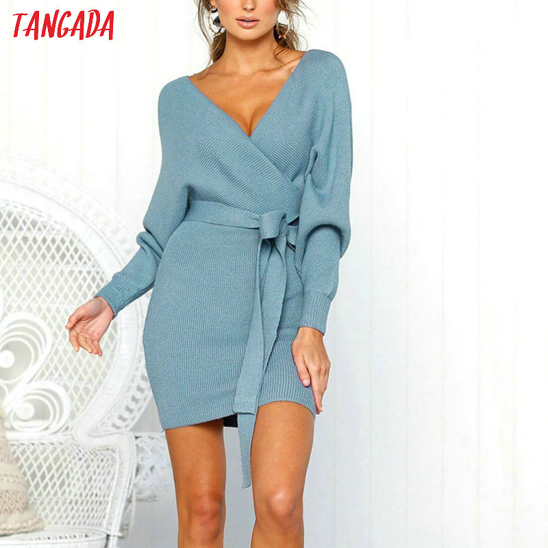 Tangada women dress 19 knitted mini dress autumn winter ladies sexy green sweater dress long sleeve vintage korean ADY08 23