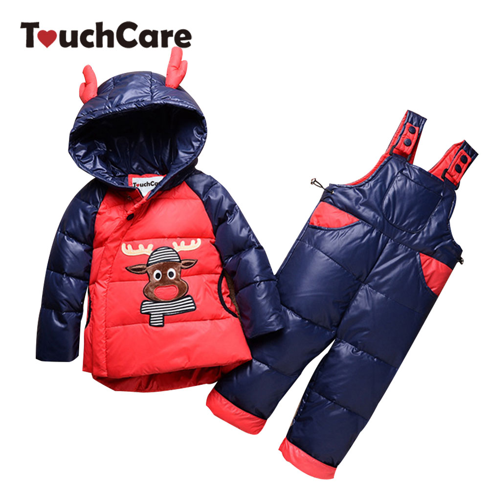 Touchcare Christmas Antlers Hooded Parkas Clothes Set Boys Girl Winter Jacket Coat Suspender Pants Baby Deer Outerwear Snowsuits christmas long hooded jacket girl 90