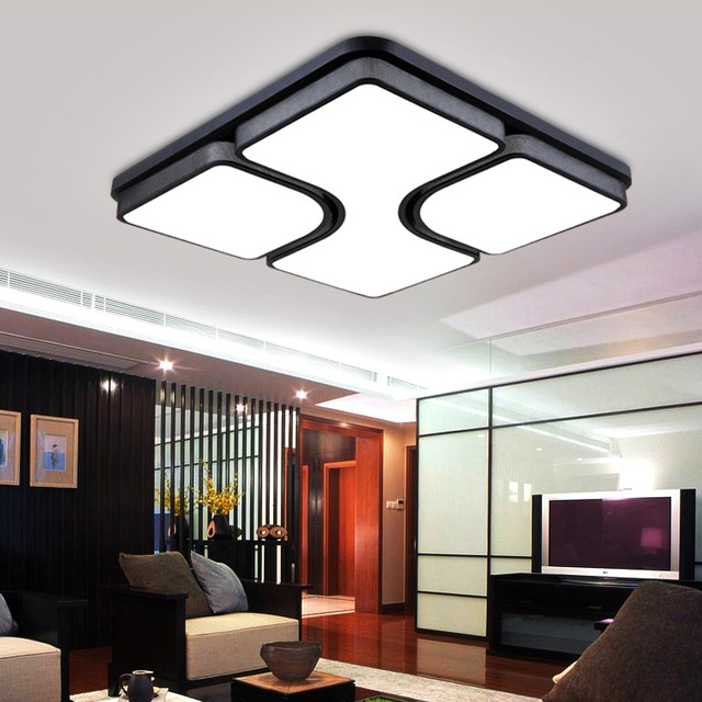 Modern Simple Fashion Led Dimmable Acrylic Square Flush Mount Light Living Room Bedroom Study Dining