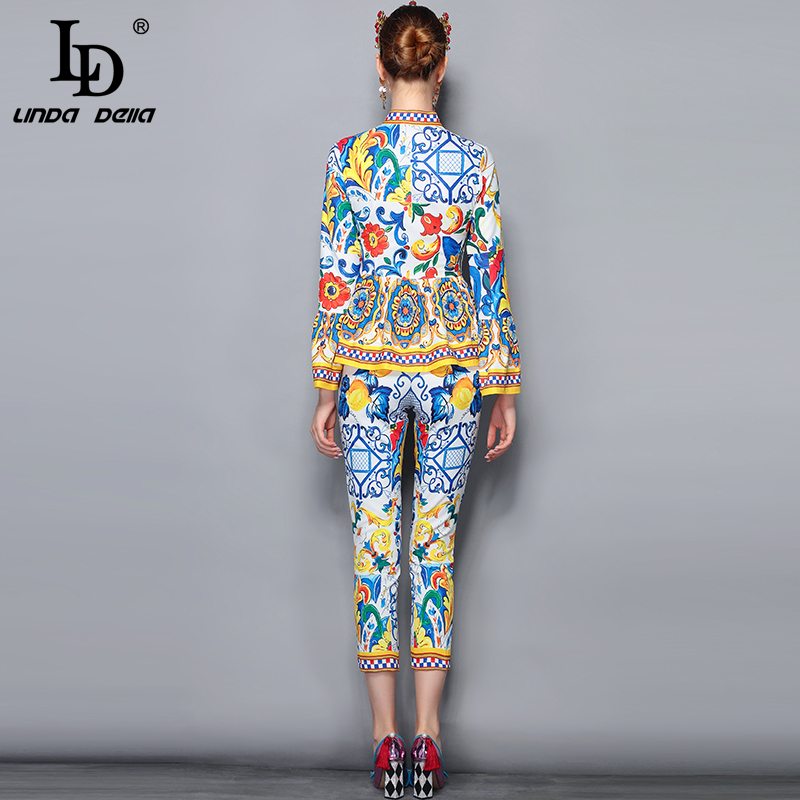 LD LINDA DELLA Fashion Runway Pants Suit Sets Women's Flare Sleeve Bow Collar Print Blouses and Casual Pants Two Pieces Set 2019