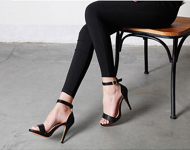 New female high-heeled sandals Hasp fine with sandals Casual summer high  heels Spike Heels10cm 47725b62efa7