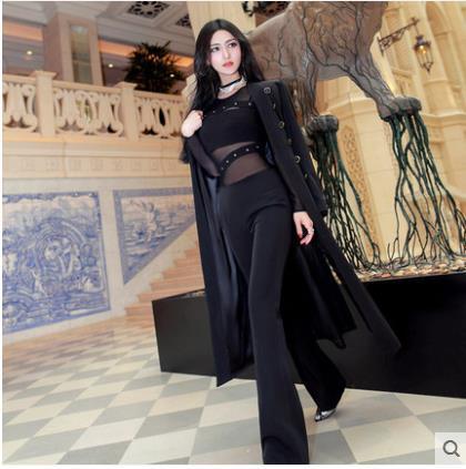 2018 Y Coreana Nuevo Temperamento Otoño Doble Vestido Delgada De Capa Larga Femenina Versión Las Negro Primavera Fila Elegante Mujeres 00wrq5P