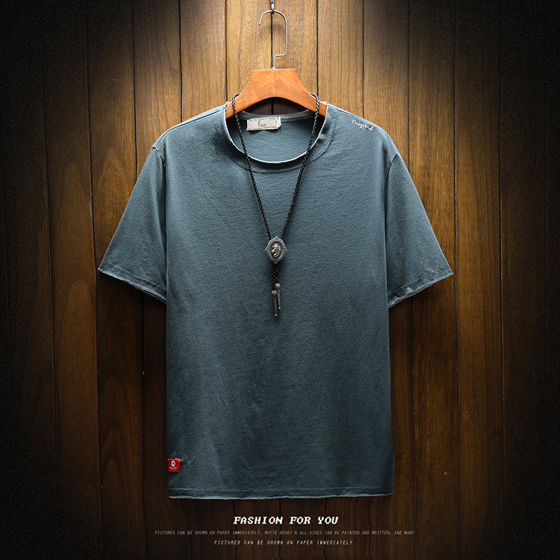 Men's Fashion tshirts Pure Color Short-sleeved Casual Comfortable clothing homme men short sleeve t-shirt