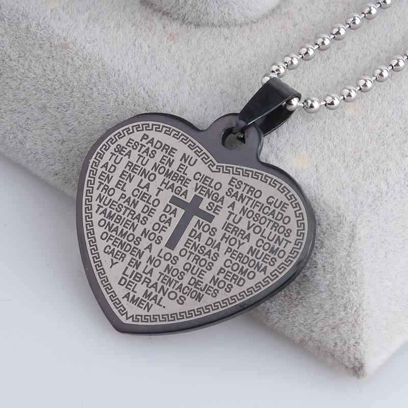 free shipping Black love heart Bible cross 316L Stainless Steel pendant necklaces bead chain for men women wholesale