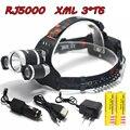 RJ5000 8000LM 3*XM-T6 LED USB Headlight Head Lamp Flashlight Torch Lanterna Headlamp+2*18650 Battery+Car Charger+AC Charger+USB