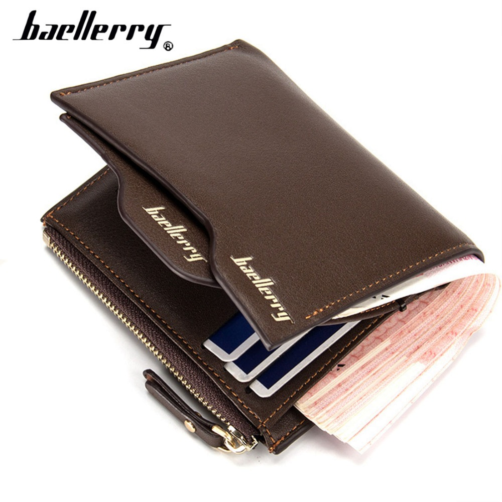 Baellerry Men Wallets Top PU Zipper Coin Pocket Business Solid Men Leather Wallet Card Holder High Quality Male Purse cartera
