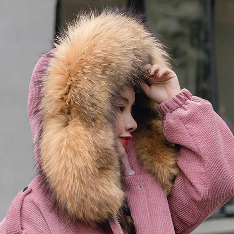 2018 Новое Женское зимнее пальто Вельветовая верхняя одежда большой меховой воротник с капюшоном с кашемировой подкладкой хлопковые куртки женская модная парка LQ236