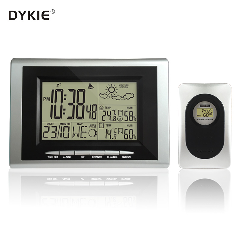 DYKIE Digital Alarm Clock Radio Controlled Sensor RCC DCF Wireless Weather Station with Indoor Outdoor Thermometer Hygrometer стоимость