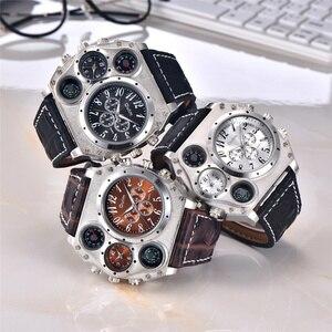 Image 5 - Oulm 1349 New Sport Watches Men Super Big Large Dial Male Quartz Clock Decorative Compass Luxury Mens Wrist Watch