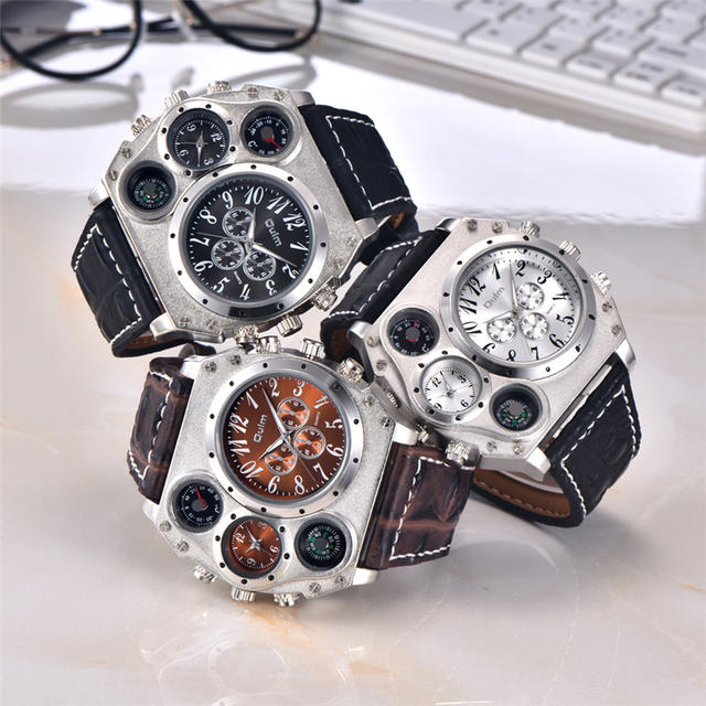 Oulm 1349 New Sport Watches Men Super Big Large Dial Male Quartz Clock Decorative Thermometer Compass Luxury Men's Wrist Watch