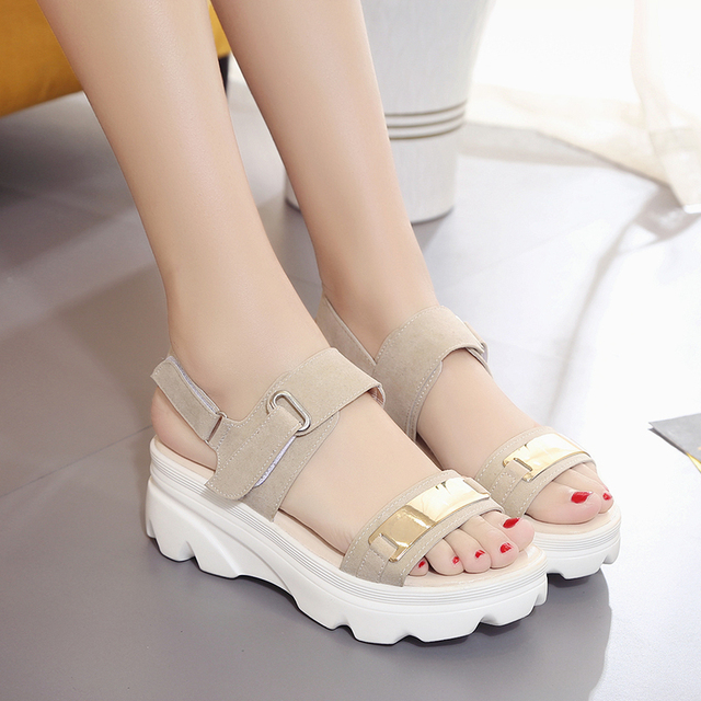 Hot Summer Women Sandals Fashion Superior Quality Comfortable Wedges Women Sandals For Lady Shoes High Platform Black Beige Shoe