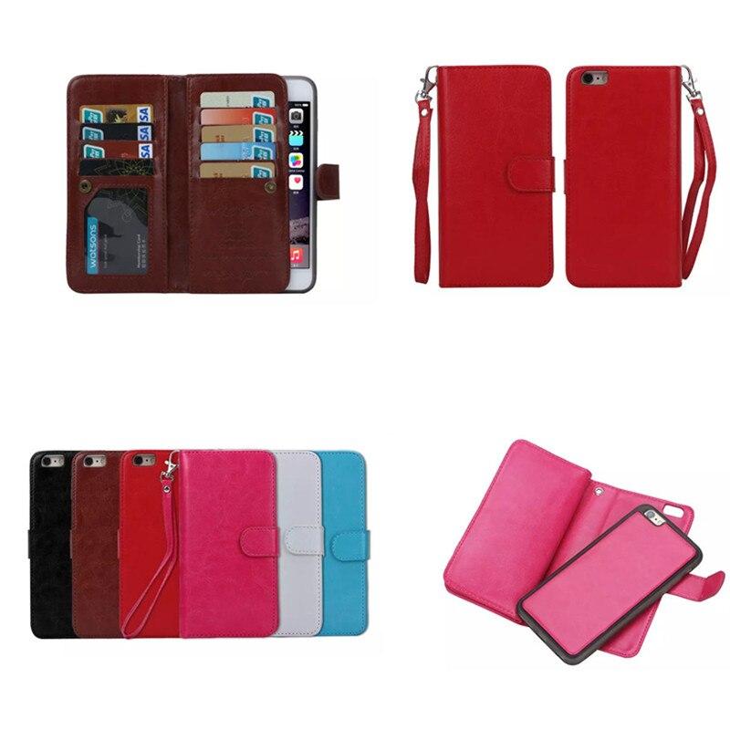 Цена за Многофункциональный магнитный 2 в 1 Флип PU кожаный бумажник + Съемный чехол + фото слот + держатель кредитной карты для iphone 5S SE 6 6 S плюс