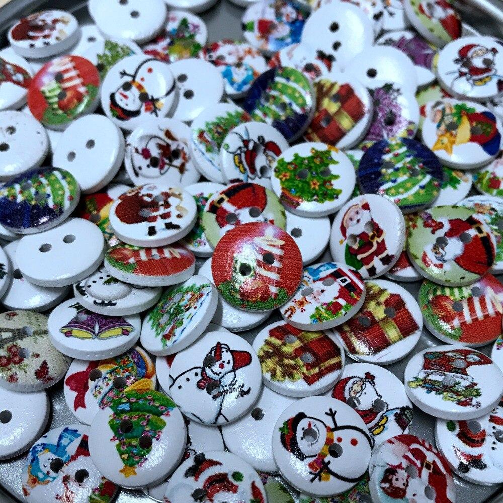 Новый 50 шт. 15 мм случайный смешанный Рождество дерево Снеговик Дед 2 отверстия дерева деревянные пуговицы Костюмы Аксессуары Fit Вышивание DIY Создание