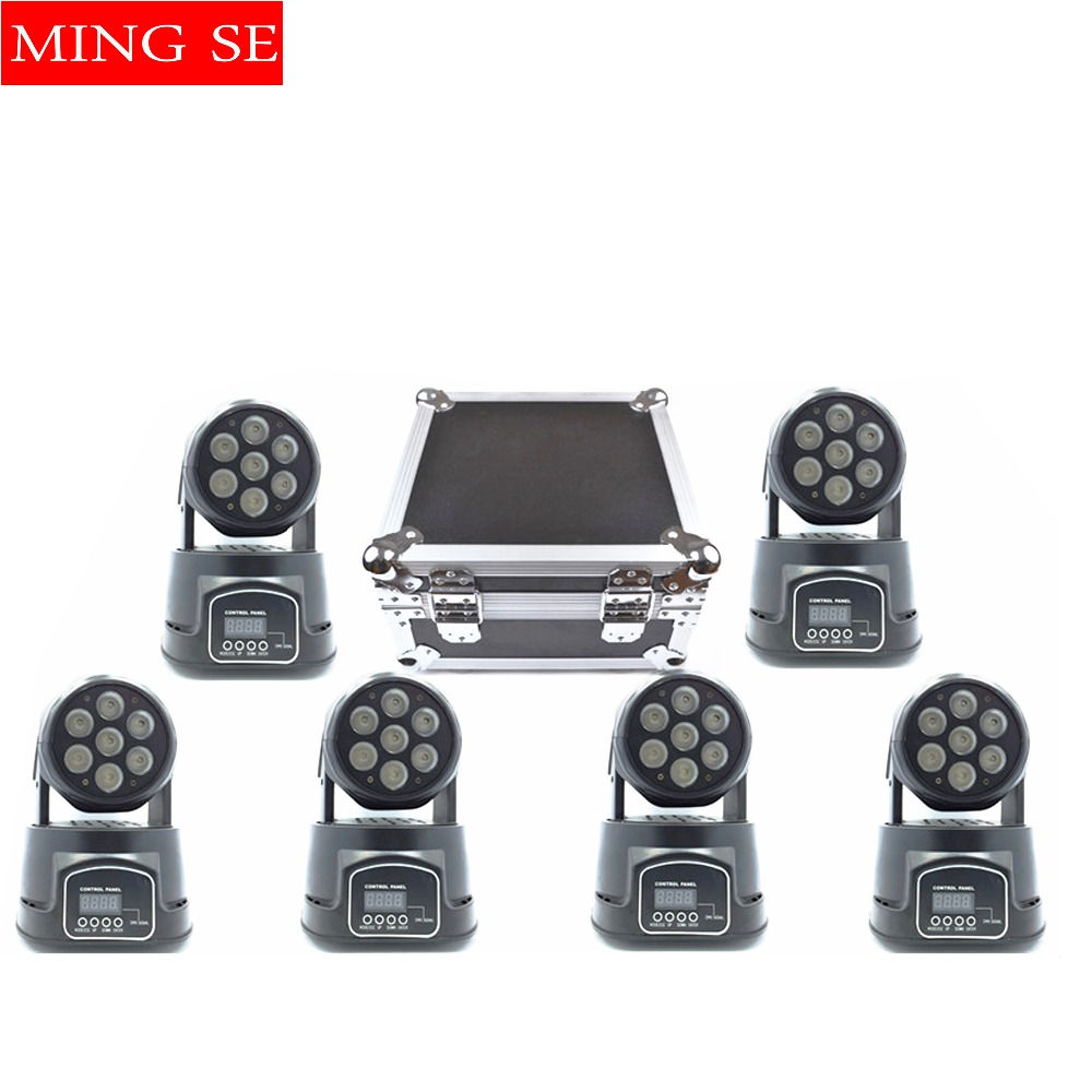 Best 6Pcs/lot 7x12W RGBW 4in1 quad led wash moving head light wtih flight case LED stage lights Mini LED Moving Head 14 channels 19 12w high power led rgbw wash light 16 channels ac90 240v moving head light professional stage