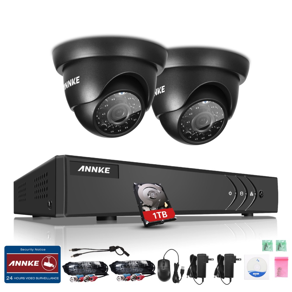 ANNKE 4CH 1080N TVI 4in1 DVR 1500TVL 720P Video Outdoor Security Camera System with 1TB Hard drive