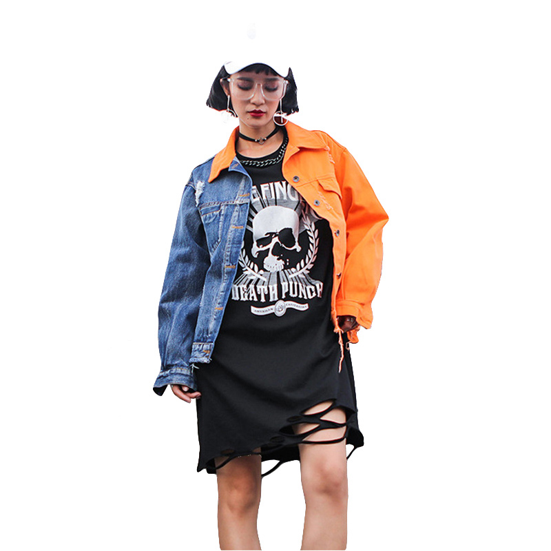 New 2018 Hop-hop Denim Jacket For WOmen Fashion Hole Ripped Patchwork Jeans Jacket Spring Womens Embrodery Bomber Jacket&Coat