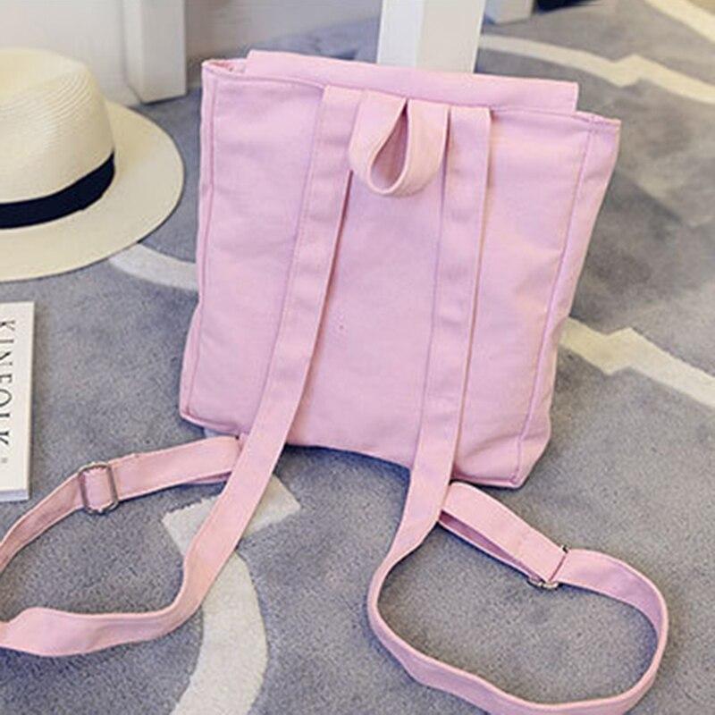 Coofit Cute Girls Mini Backpack Casual Solid Color Square Canvas Backpack Adjustable Shoulder School Rucksack Travel Backpack
