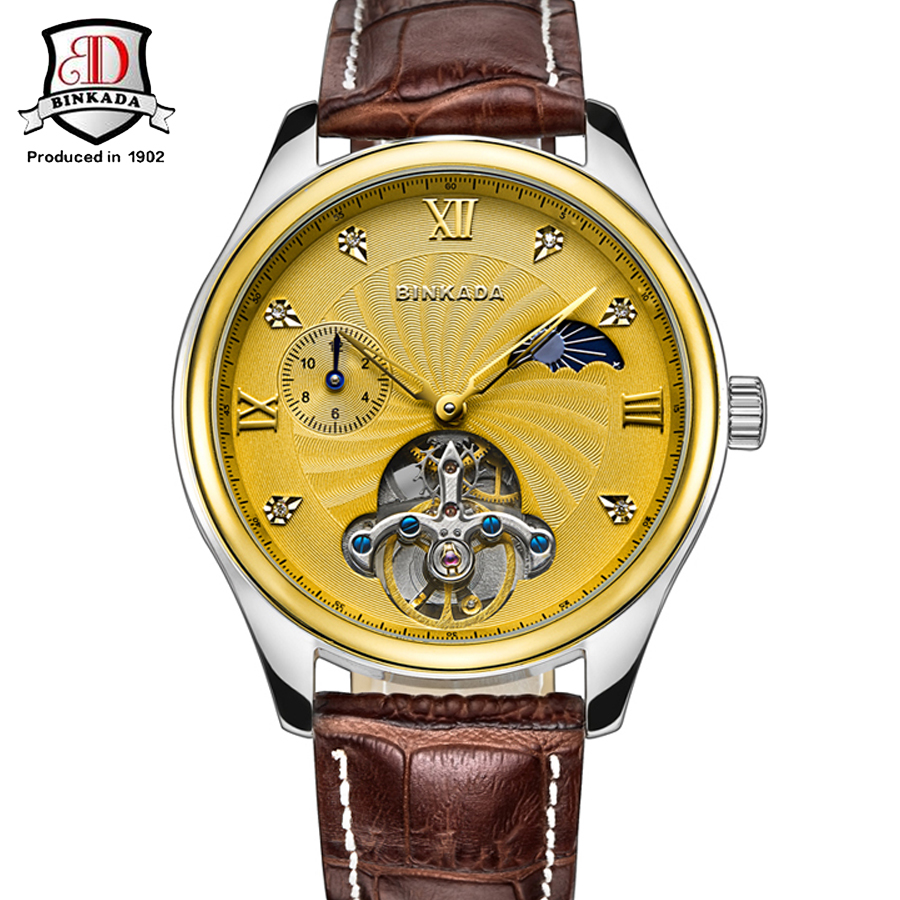 цена на 2017 Luxury BINKADA Mechanical Watches Mens Skeleton Genuine Leather Strap Wristwatch Military Army Sport Brand Automatic Watch
