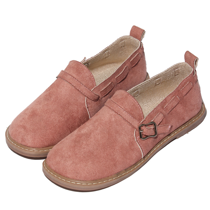Japanese literary fresh women flat shoes genuine leather soft bottom comfortable low to help casual shoes