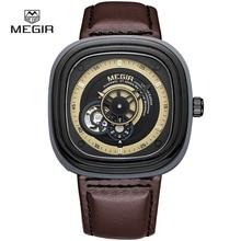 MEGIR nueva moda relojes mecánicos hombres casual impermeable reloj hombre cronógrafo reloj de la marca de cuero para hombre horas 3012