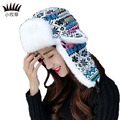 New fashion Korean character caps winter women hat Christmas ear protect knitting thick warm velvet women Bomber Hats
