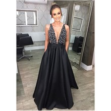 цена на 2018 New Black Deep V Neck Long Paty Dress Sexy Summer Sleeveless Sequins Maxi Dresses Vintage Backless Ball Gown Night Dresses