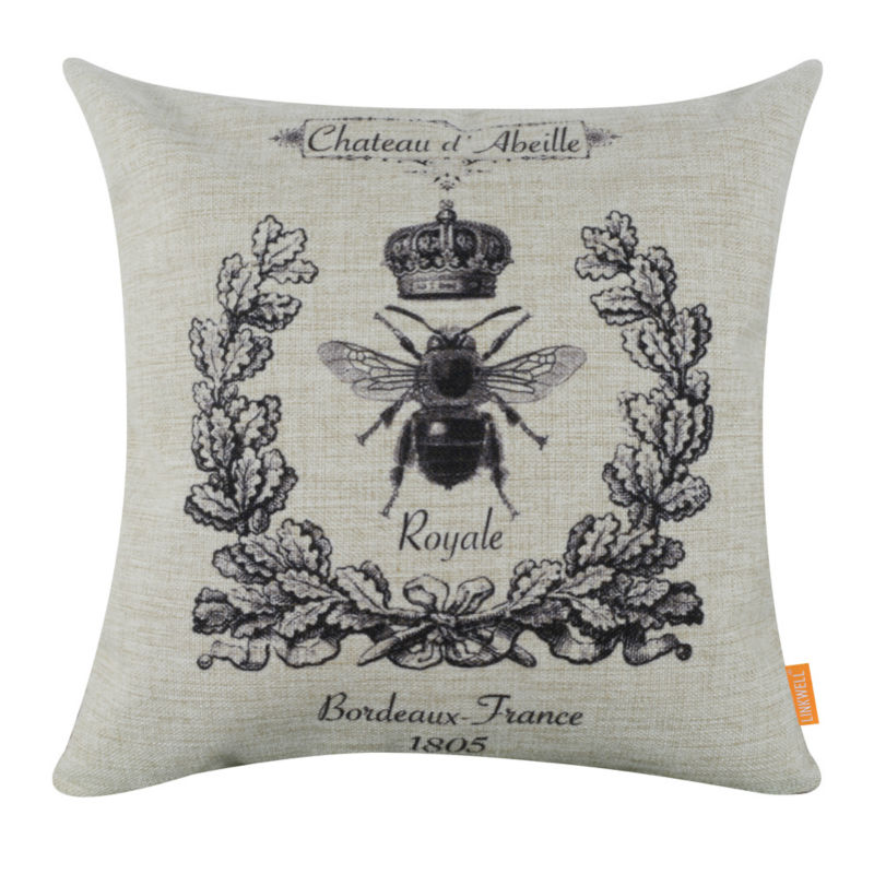 decorative pillows couch queen bee crown wreath cushion cover US Seller