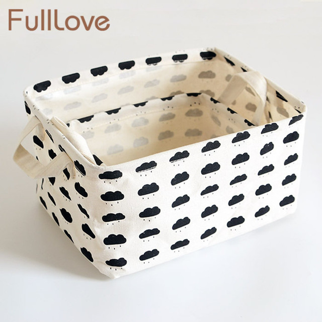 FullLove Home Storage U0026 Organization Black Trees Cloud Printing Square  Canvas Storage Basket Toys Cosmetics Desktop