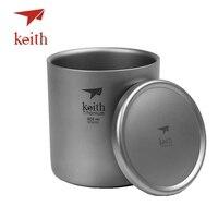 Keith Pure Titanium Vacuüm Thee Cups Double Wall Water Mokken Outdoor Camping Reizen Picknick Servies Gebruiksvoorwerpen Met Titanium Deksel