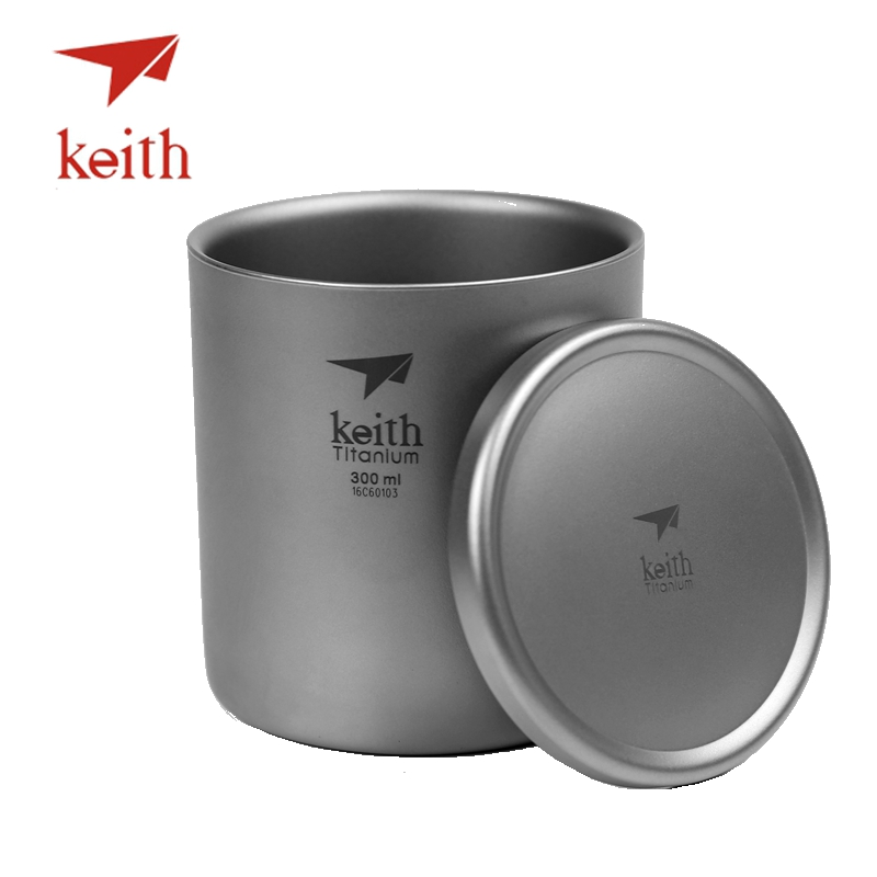 Keith Pure Titanium Vacuum Tea Cups Double Wall Water Mugs Outdoor Camping Travel Picnic Tableware Utensils With Titanium Lid keith pure titanium double wall water mugs with folding handles drinkware outdoor camping cups ultralight travel mug 450ml 600ml