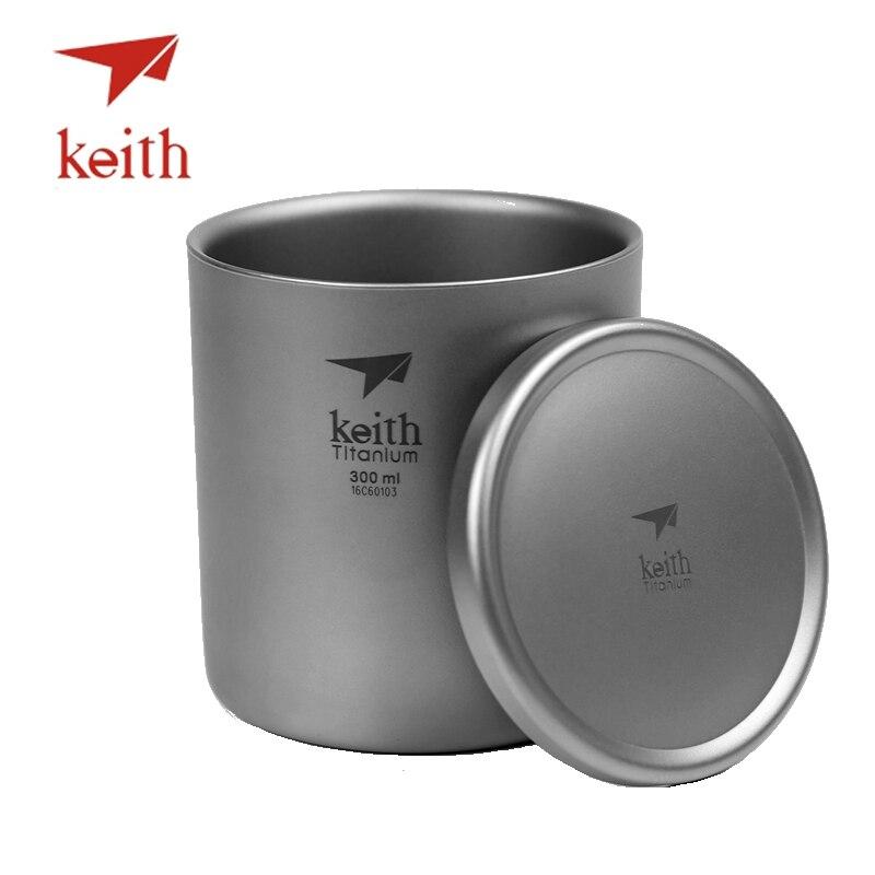 Keith pur titane tasses à thé sous vide Double paroi tasses à eau en plein air Camping voyage pique-nique vaisselle ustensiles avec couvercle en titane