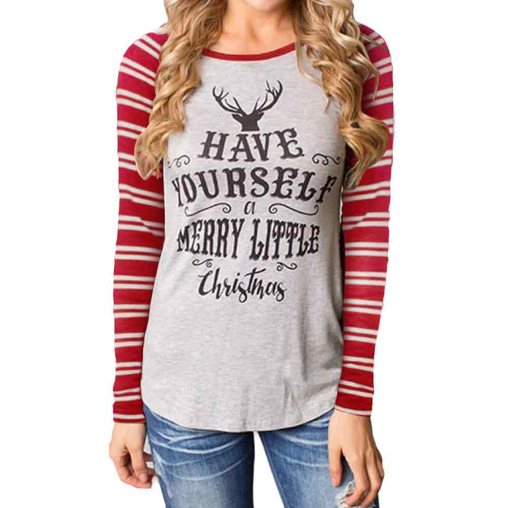 Free Ostrich Lovely Ladies <font><b>Deer</b></font> Printed <font><b>Shirt</b></font> <font><b>Women</b></font> Fashion Christmas Round Collar Cotton Long Sleeve Casual Tops C1240 image